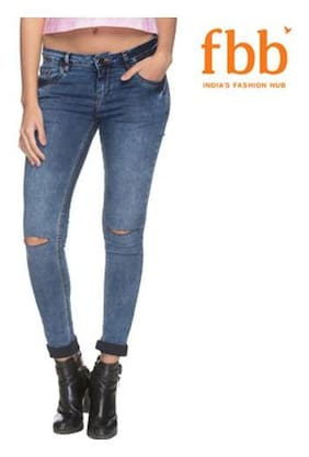 DJ&C Women Skinny Fit Mid Rise Washed Jeans - Blue