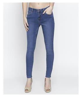 DJ&C Women Skinny Fit Mid Rise Solid Jeans - Blue