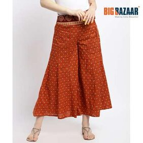 DJ&C Womens Red Printed Flared Culottes