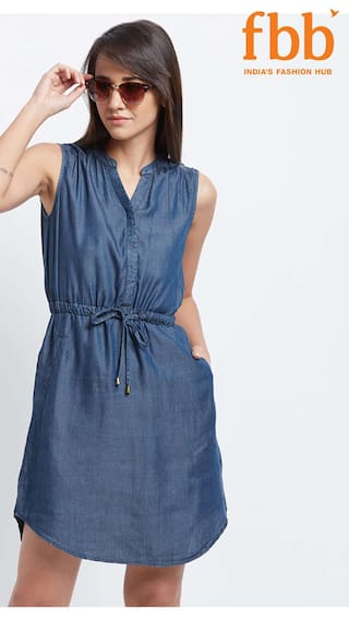 DJ&C Womens Blue Denim Dress with Tie-Up