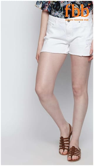 315355838d7 Buy DJ C Womens White Distressed Denim Shorts Online at Low Prices ...