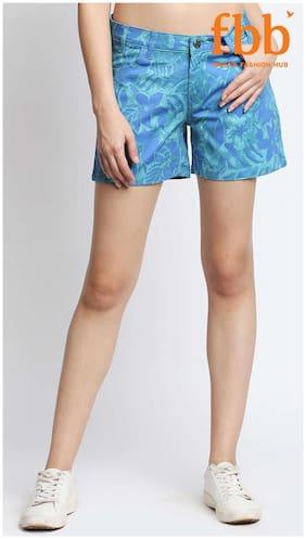 DJ&C Womens Blue Tropical Print Shorts