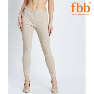 DJ&C Womens Beige Bengaline Stretch Jeggings with Zipper