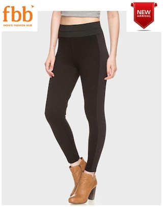 DJ&C Womens Black High Rise Jeggings with Contrast Panels