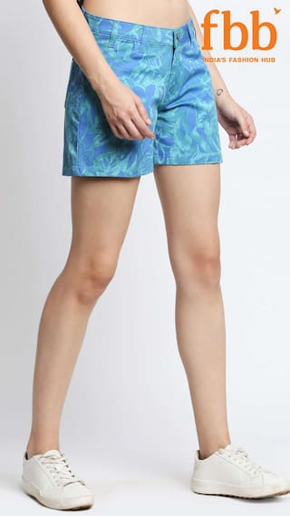 amp;C Shorts Womens Tropical Print DJ Blue wX07daxXAq