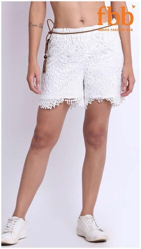 DJ&C Womens White Schiffli Shorts with Belt