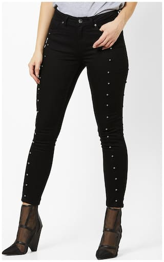 DNMX By Reliance Trends Women Regular Fit Mid Rise Jeans - Black