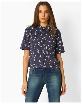 DNMX By Reliance Trends Women Blue Blended Shirt