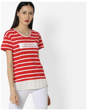 Dnmx By Reliance Trends Women Red Cotton Tshirt