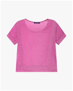DNMX By Reliance Trends Women Cotton Checked - A-line Top Pink