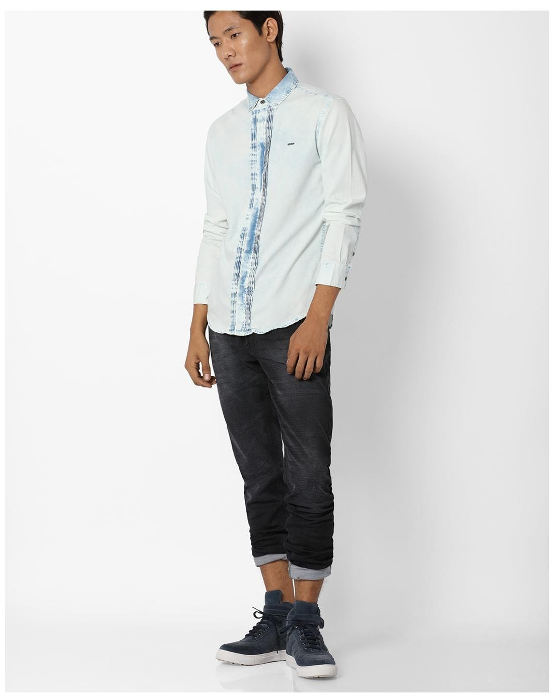 8b434834410 Buy DNMX By Reliance Trends Men Slim Fit Casual shirt - White Online at Low  Prices in India - Paytmmall.com