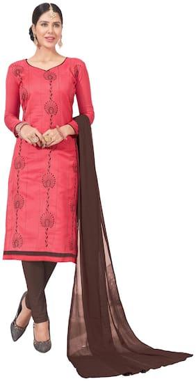 DnVeens Chanderi Cotton Churidar Embroidery Salwar Suit Unstiched Dress Materials BLGNGITCT06