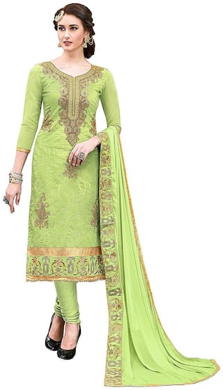 Dnveens Green Unstitched Kurta with bottom & dupatta With dupatta Dress Material