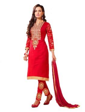 DnVeens Woman Pure Chanderi Unstitched Fancy Salwar Kameez  Dupatta Dress Material Red