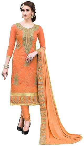 Dnveens Orange Unstitched Kurta with bottom & dupatta With dupatta Dress Material