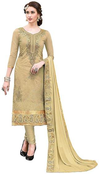Dnveens Beige Unstitched Kurta with bottom & dupatta With dupatta Dress Material