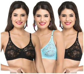 Docare Black;Blue;Black Full Coverage Bra - Pack of 3