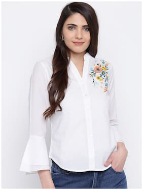 DODO & MOA Women White Floral Regular Fit Shirt