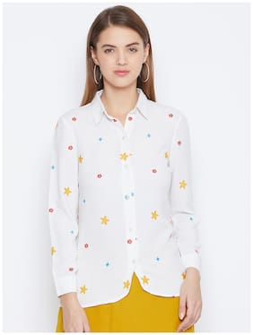 DODO & MOA Women White Printed Regular Fit Shirt