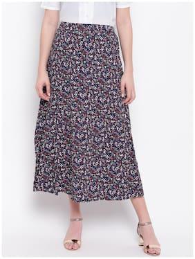 DODO & MOA Floral Flared skirt Midi Skirt - Blue