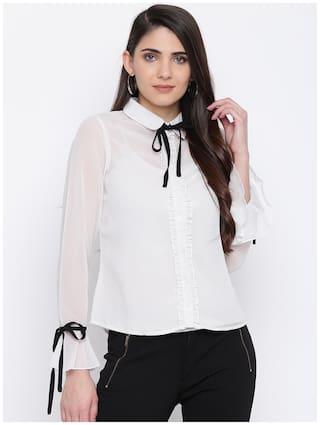 DODO & MOA Women White Solid Regular Fit Shirt