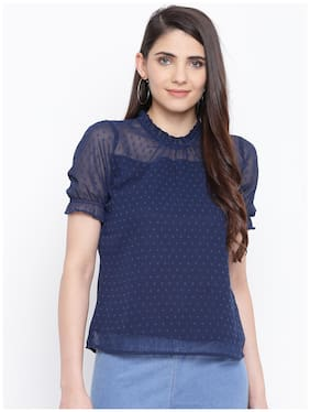 DODO & MOA Women Self design Regular top - Blue