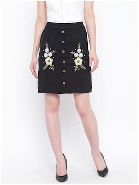 DODO & MOA Floral Straight skirt Mini Skirt - Black