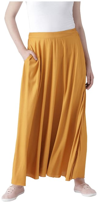 DODO & MOA Solid Straight skirt Maxi Skirt - Yellow