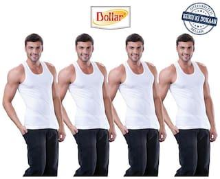Dollar 4 Sleeveless Round Neck Men Vest - White