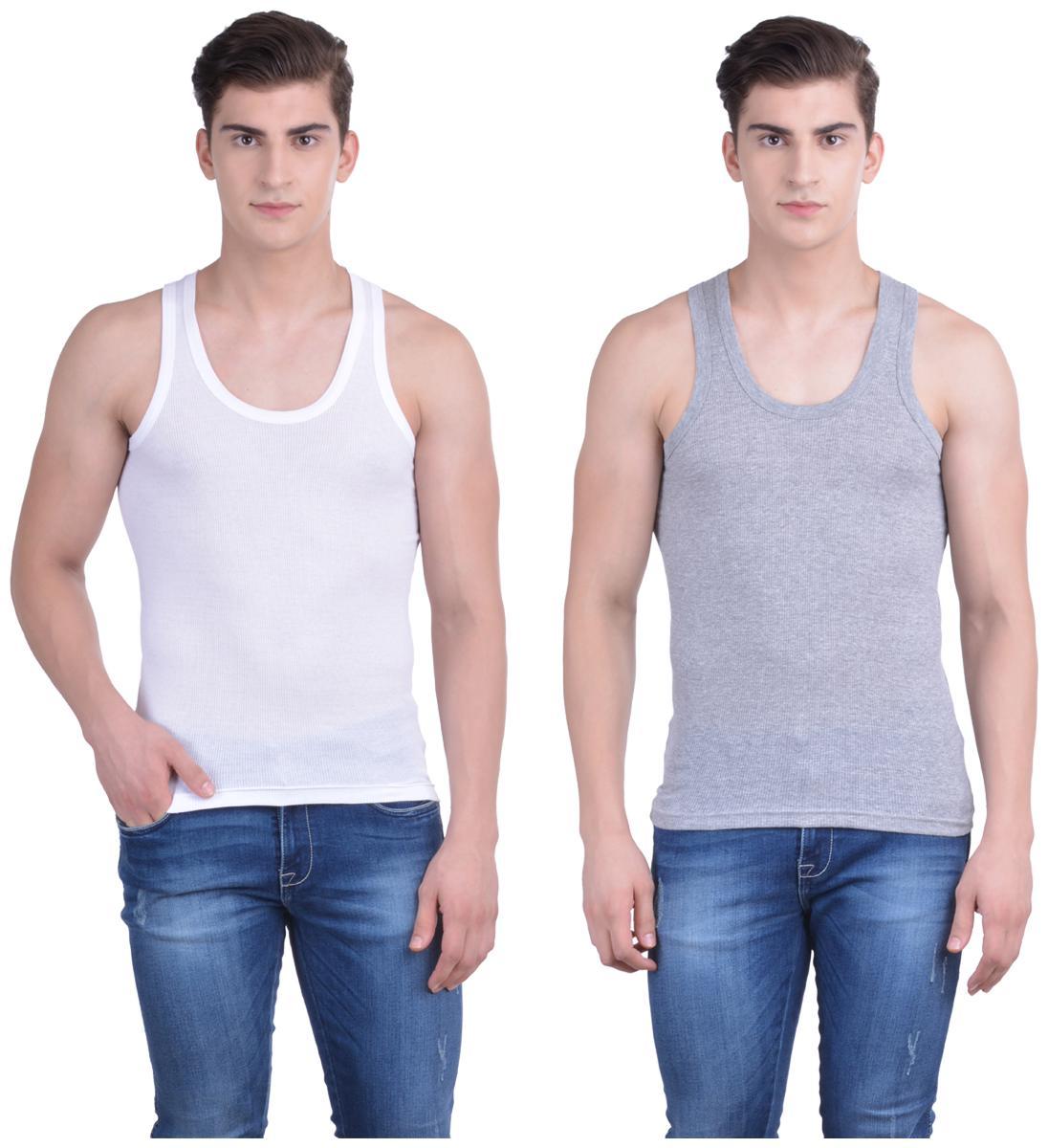 Dollar Bi  gboss 2 Sleeveless Scoop Neck Men Vest   Grey   White by Dollar Industries