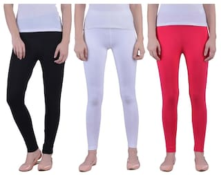 d0fb702f26f5 Dollar Missy Women s Combo Of 3 Cotton Slim Fit Black White And Red Ankle  Length