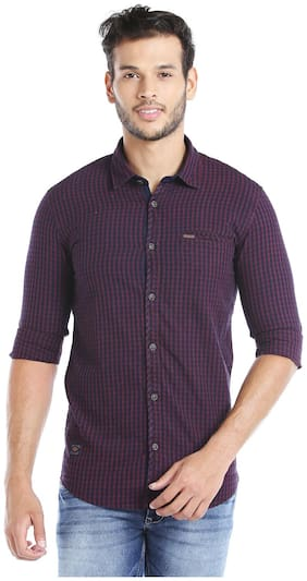 Donear NXG Men Red Checked Slim Fit Casual Shirt