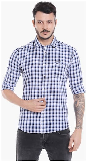 Donear NXG Men White Checked Slim Fit Casual Shirt