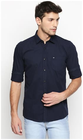 Donear NXG Men Blue Solid Slim Fit Casual Shirt