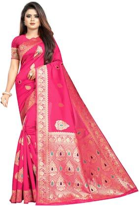 DOOR STEP SHOPPING Jacquard Woven Pink Color Saree
