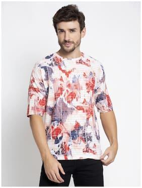 Men Round Neck Self Design T-Shirt Pack Of 1