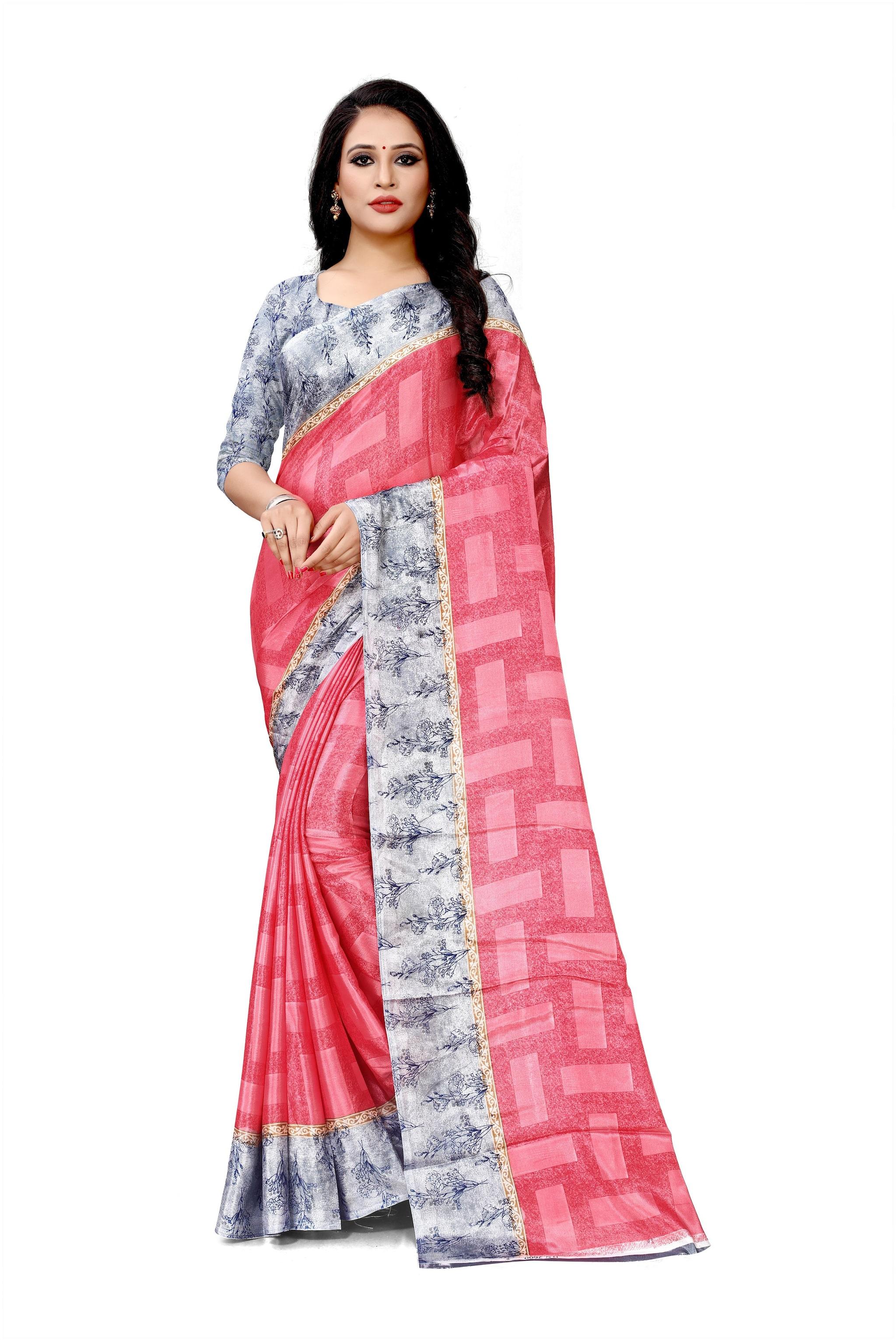 DORI Crepe Pink Printed Saree For Women by Bansi Fashion