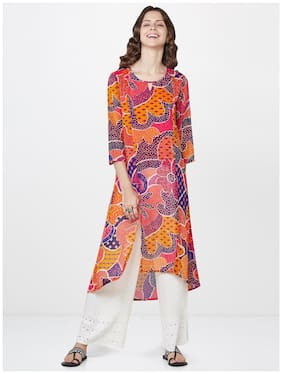 Global Desi Women Orange Printed Straight Kurta