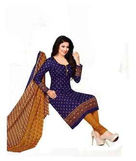 Drapes Cotton Printed Dress Material - Blue