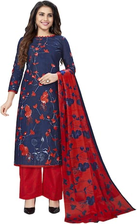 Drapes Navy blue & Red Unstitched Kurta with bottom & dupatta With dupatta Dress Material