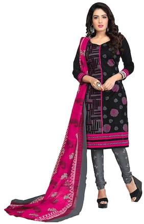 970b4daded Drapes Cotton Printed Dress Material - Black