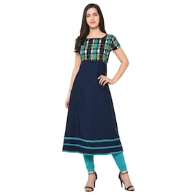 97869ee9a0811 DRAPES Women Crepe Printed Anarkali Kurti - Blue