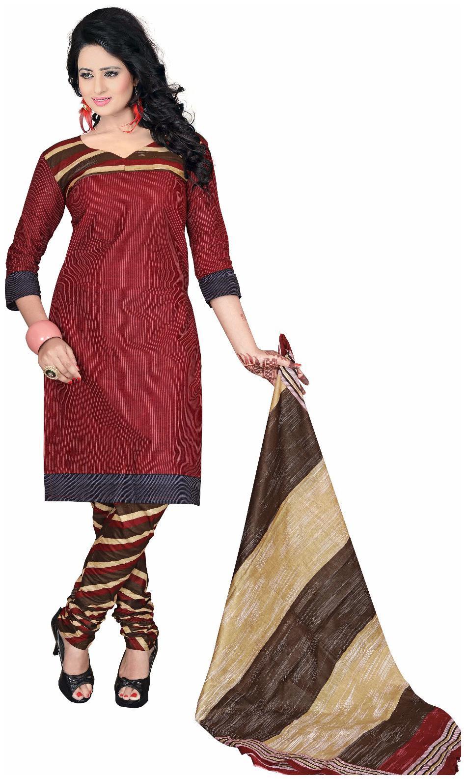 Drapes Womens Maroon Cotton printed Dress Material