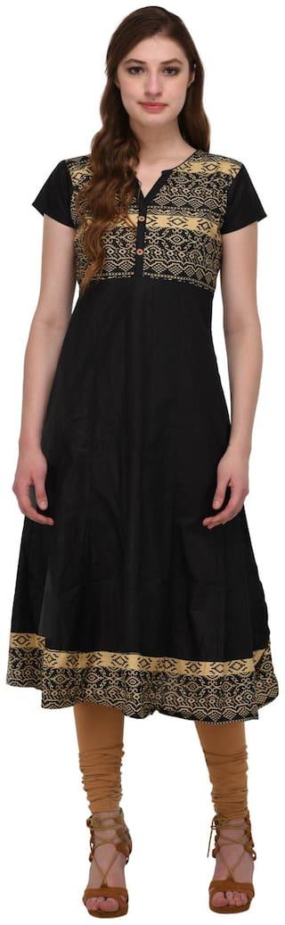 Drapes Women's Anarkali Kurtis Black Printed 3/4 Sleeve In Cotton Fabric