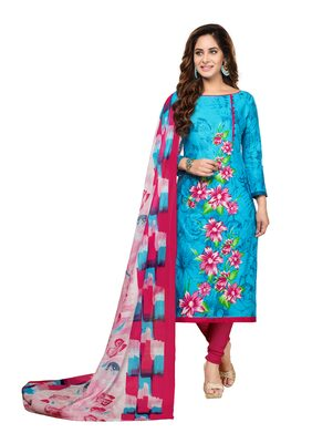 DRAPES Cotton Printed Dress Material - Multi