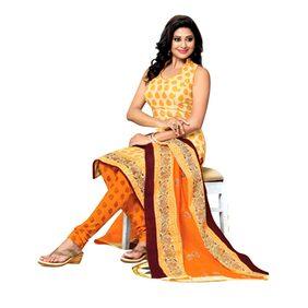 DRAPES Yellow Cotton Dress Material