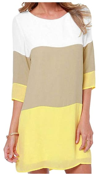 Dresses Sleeve Dresses Chiffon Block L Design Dress Yellow Color Straight Party Of Casual Women Half Vintage qIqCz