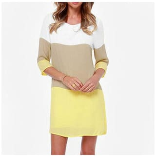 Straight Block Dress Sleeve Vintage Casual Of Color Party Design Women Dresses Dresses L Half Yellow Chiffon YFwCTExqW7