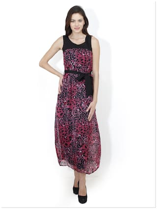 Mayra Pink Georgette Dress For Women