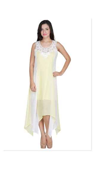 Crepe Poly Women Yellow Mayra For Dress Long qwHxECa